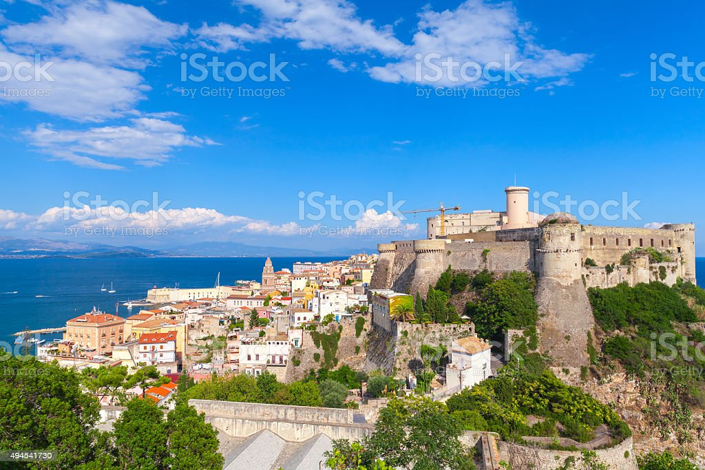 Landscape of old town Gaeta with castle, Italy stock photo