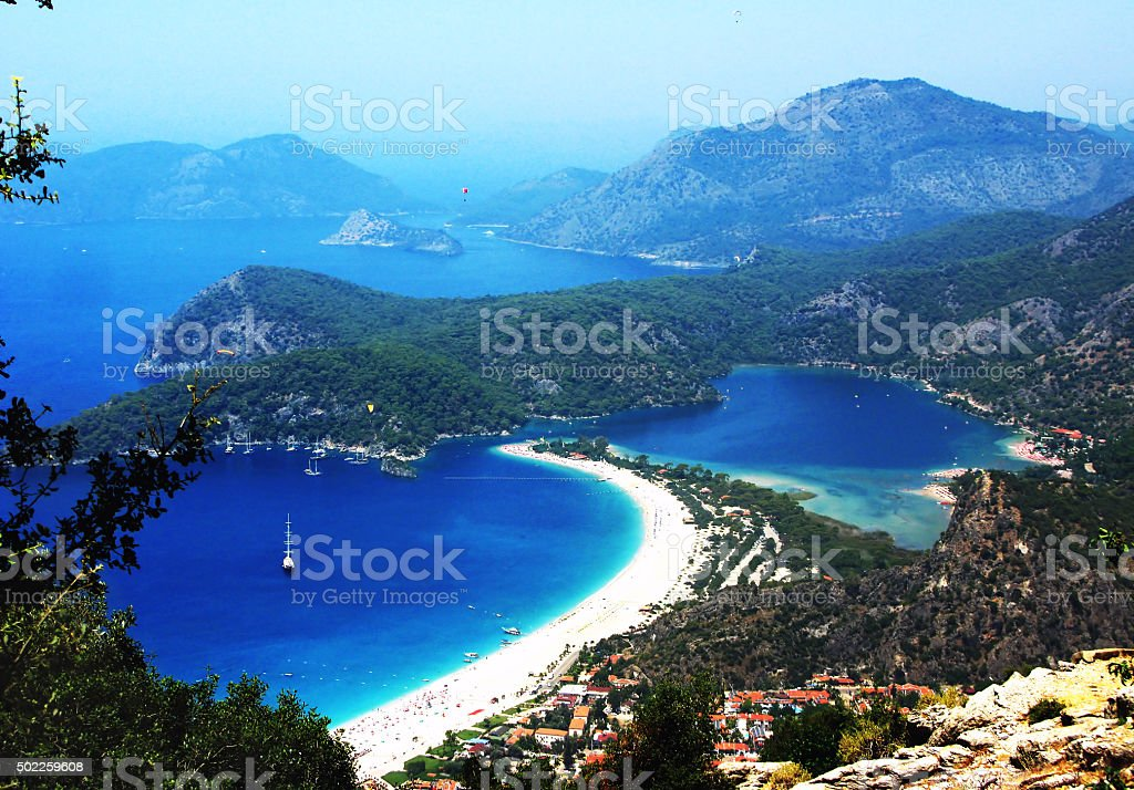 landscape of oludeniz lagoon beach in the mediterranean sea turkey stock photo