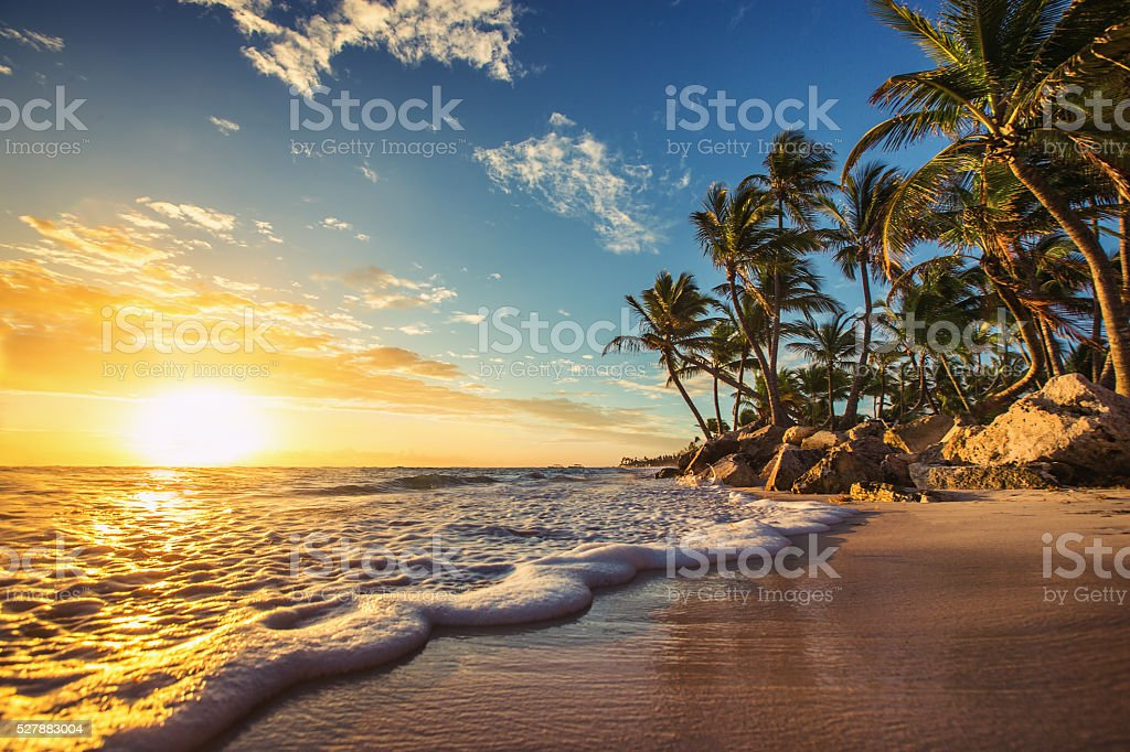 Landscape of paradise tropical island beach, sunrise shot stock photo