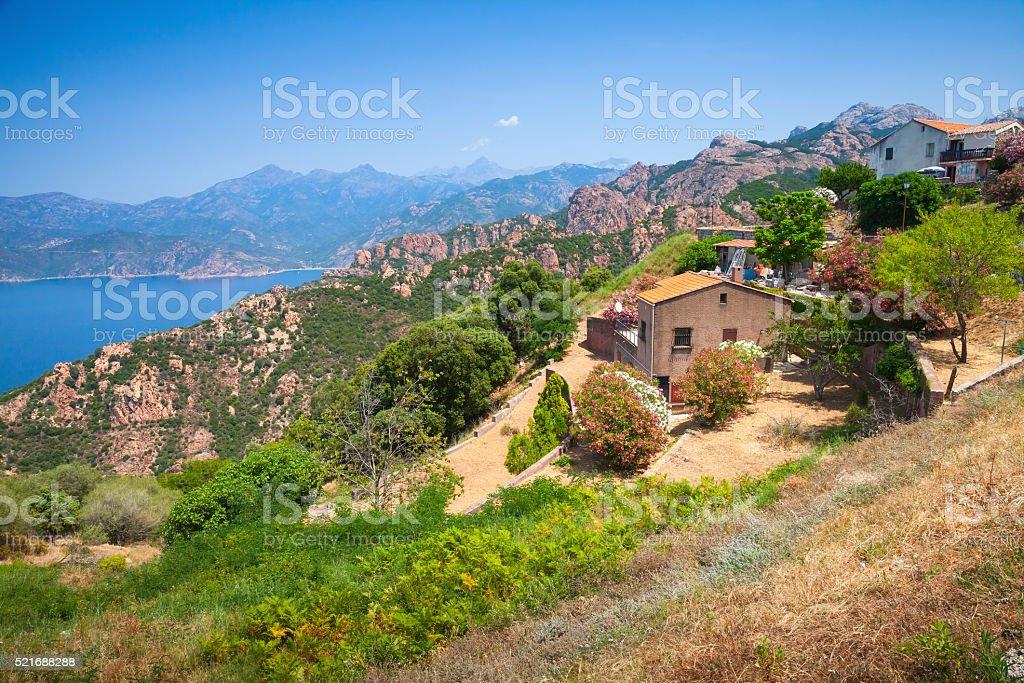 Landscape of Piana, South Corsica, France stock photo