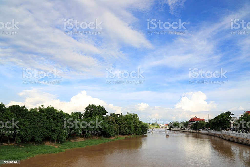 Landscape of Ping river with blue sky, Chiang Mai, Thailand stock photo