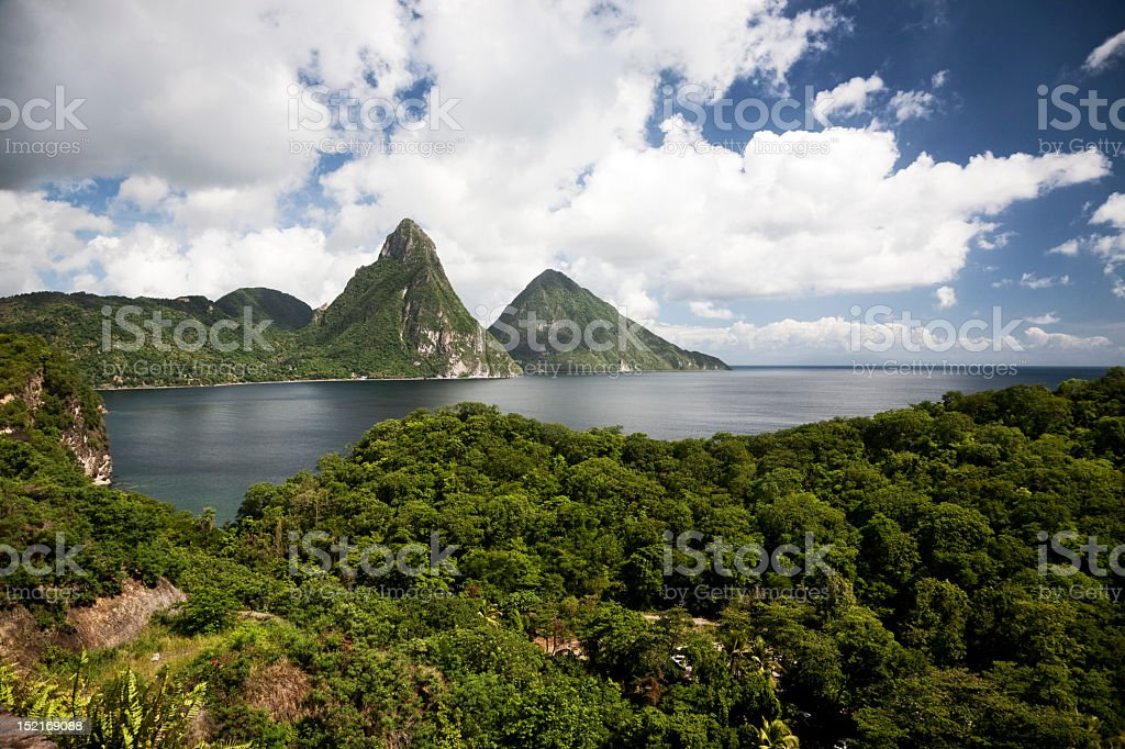 Landscape of pitons of Saint Lucia stock photo