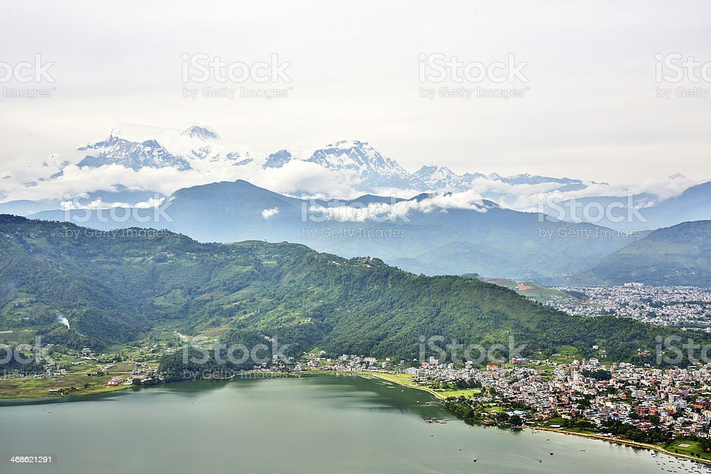 Landscape of Pokhara Lake with Annapurna in the background stock photo
