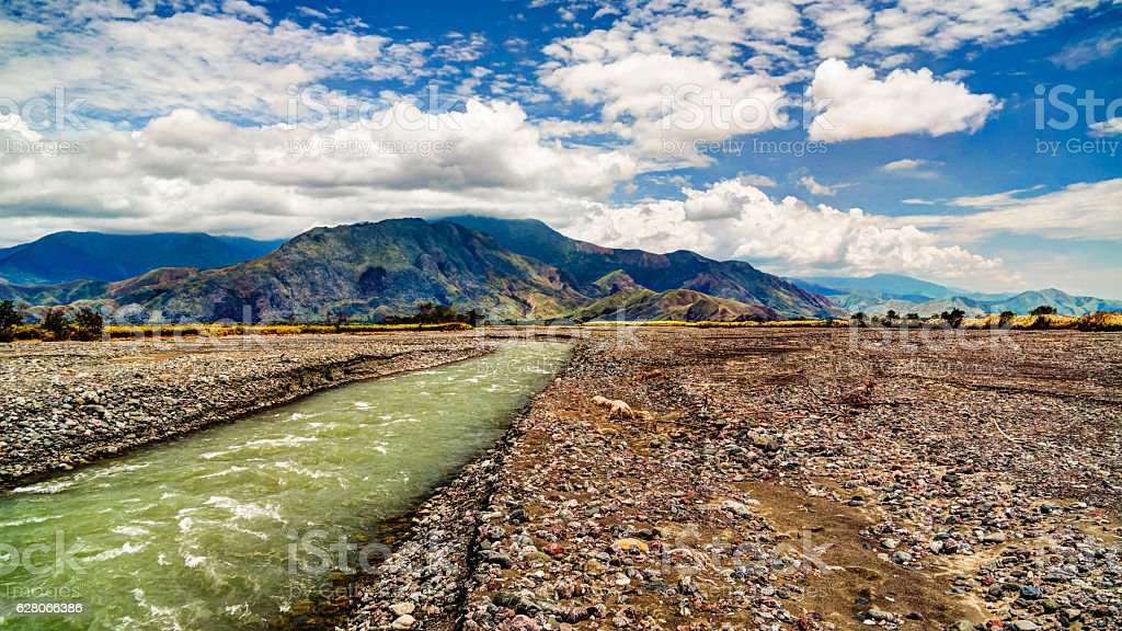 Landscape of Ramu river and valley, Madang Papua New Gunea stock photo
