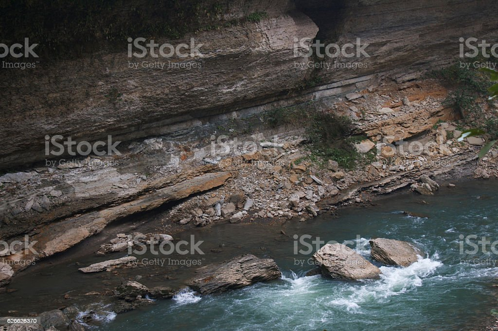 Landscape of rapid mountain river stock photo