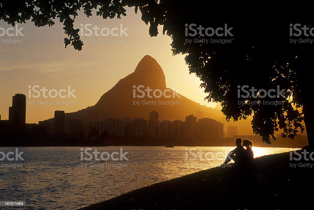 Landscape of Rio de Janeiro at sunset royalty-free stock photo