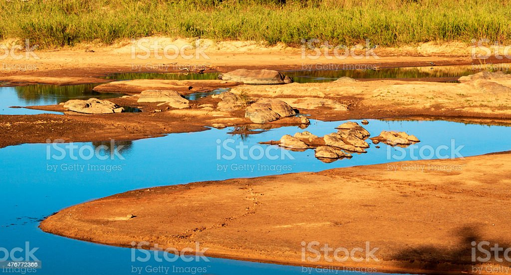 Landscape of riverbed in Africa stock photo