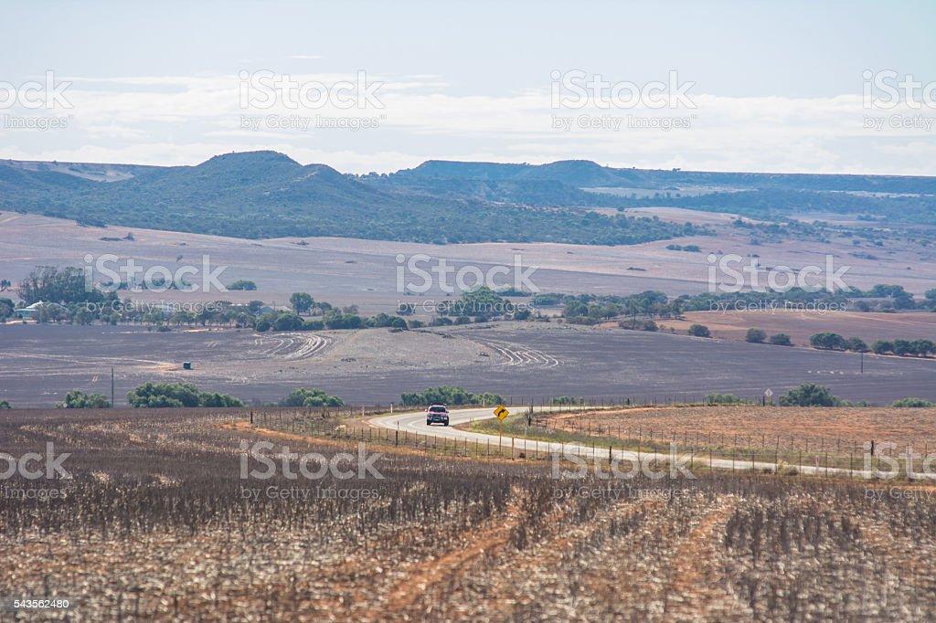 Landscape of road in Australian Outback stock photo