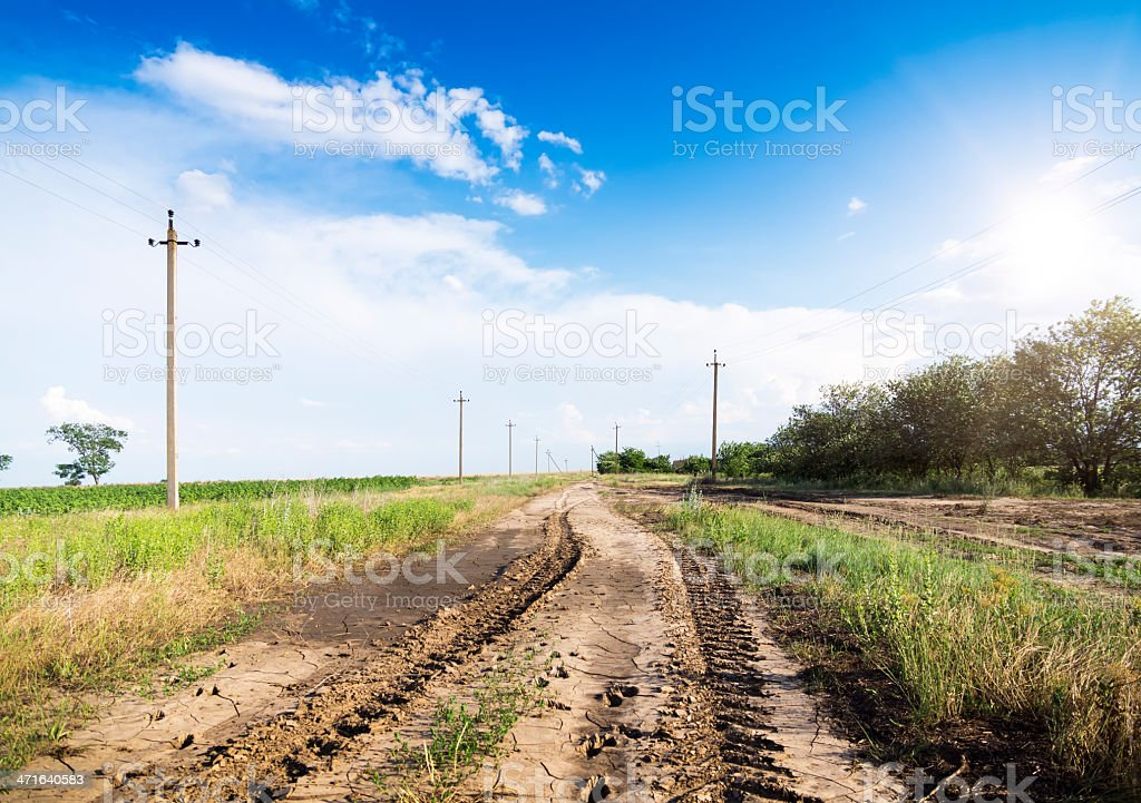 Landscape of road with tractor`s track in sunset royalty-free stock photo