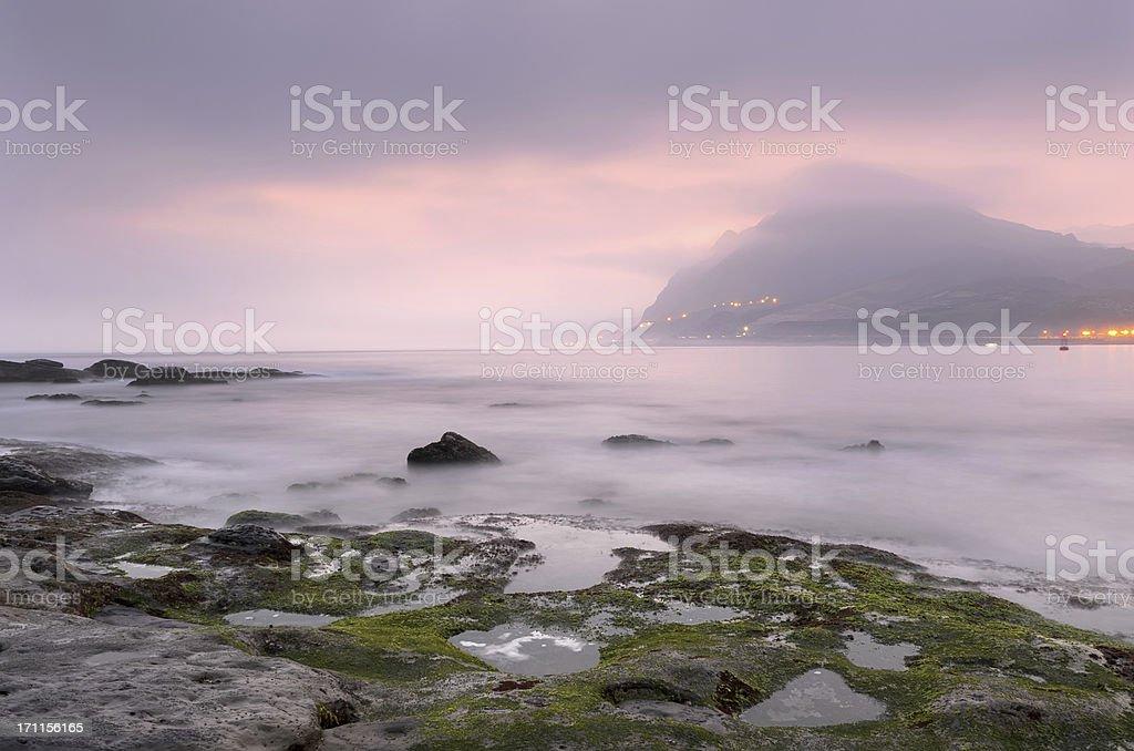 Landscape of rock coastline stock photo