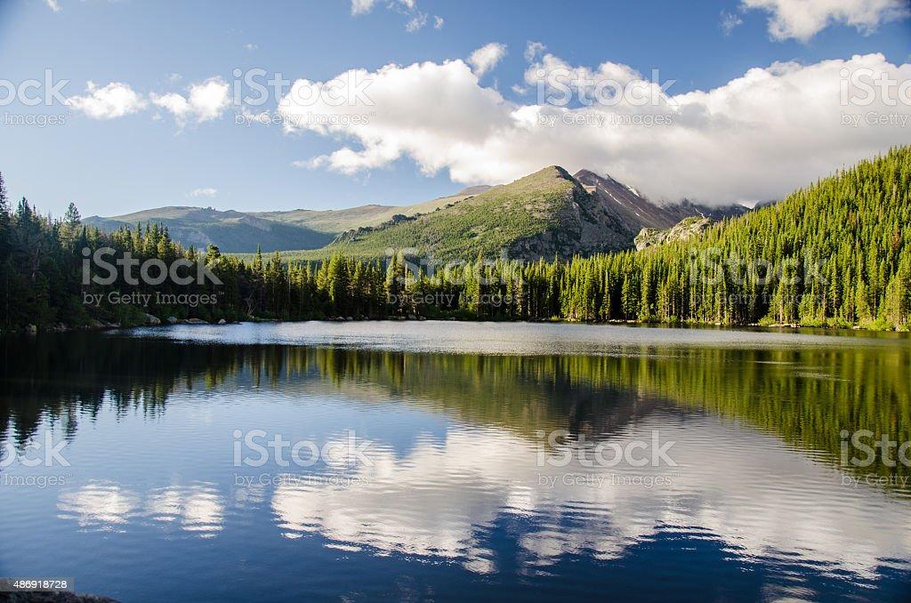 landscape of rocky mountain glacial lake stock photo