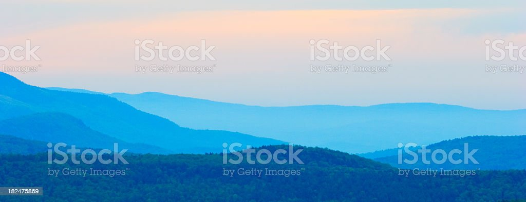 Landscape of rolling Vermont mountains stock photo