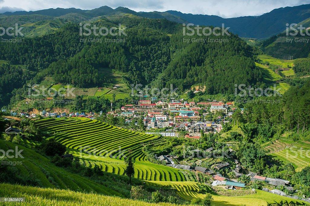 Landscape of sapa village,north of Vietnam. stock photo