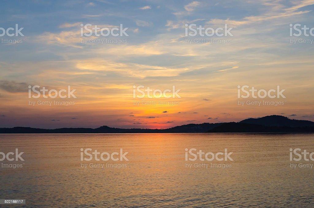 Landscape of sea and sunrise at bophut beach samui stock photo