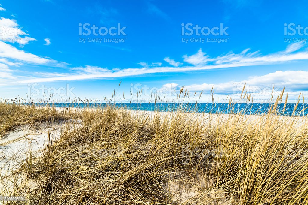 Landscape of sea, sandy beach and sand dune with grass stock photo