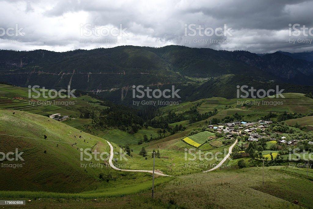 Landscape of Shangri-La tibetan village royalty-free stock photo