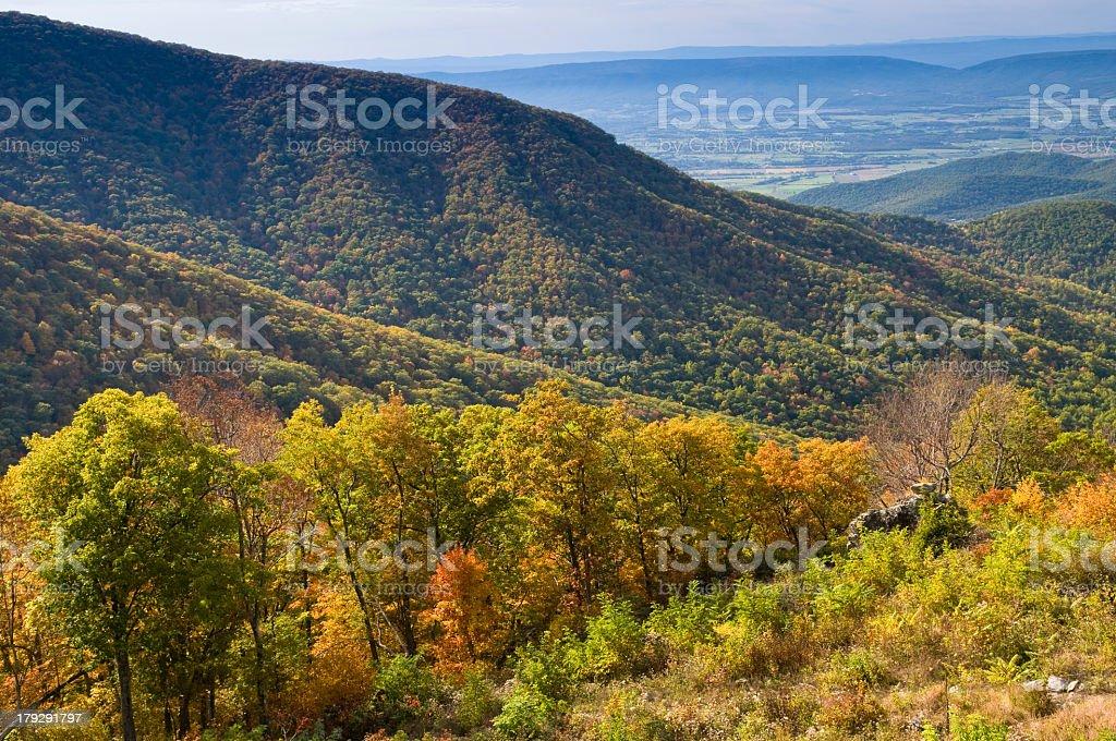 Landscape of Shenandoah national park in Autumn stock photo