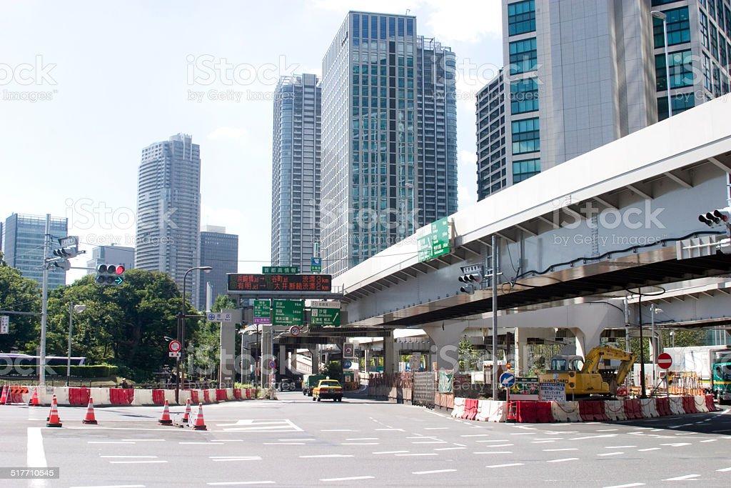 Landscape of Shiodome stock photo