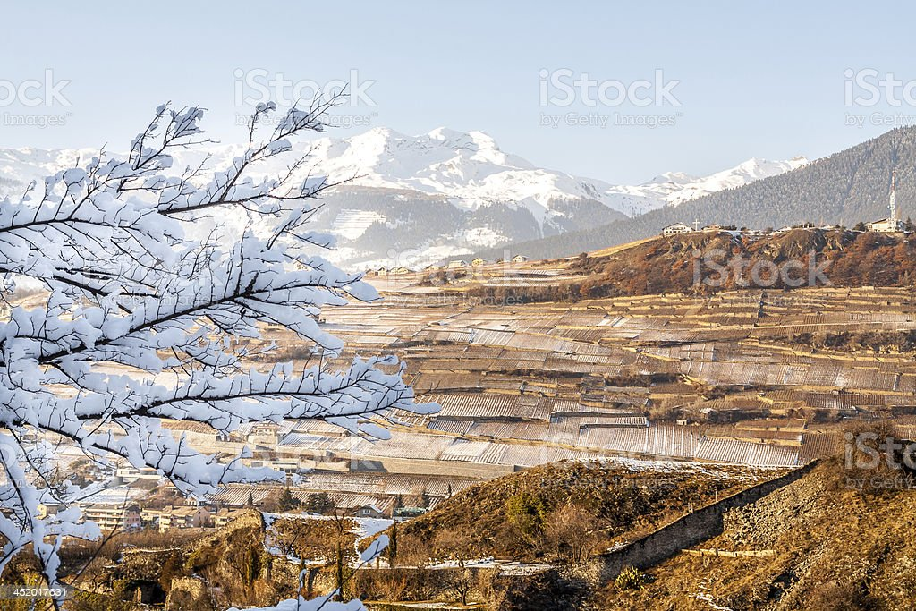 Landscape of Sion in Switzerland stock photo