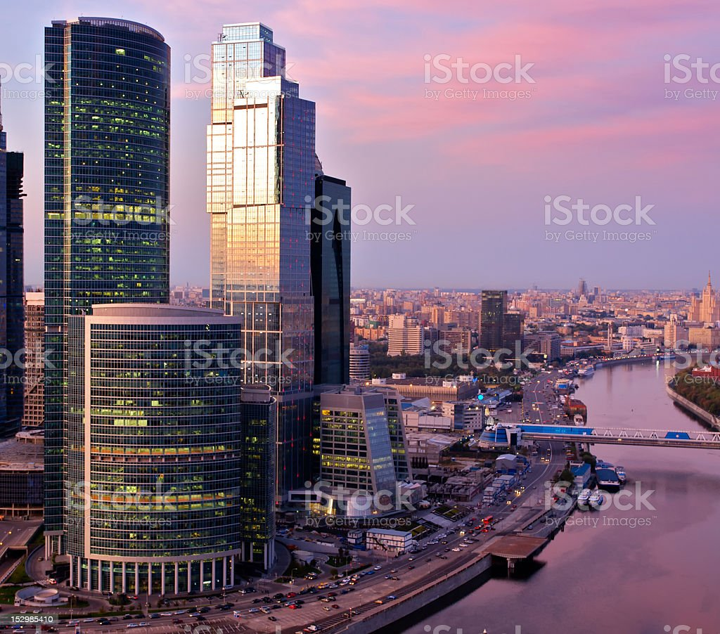 Landscape of skyscrapers in Moscow, Russia stock photo