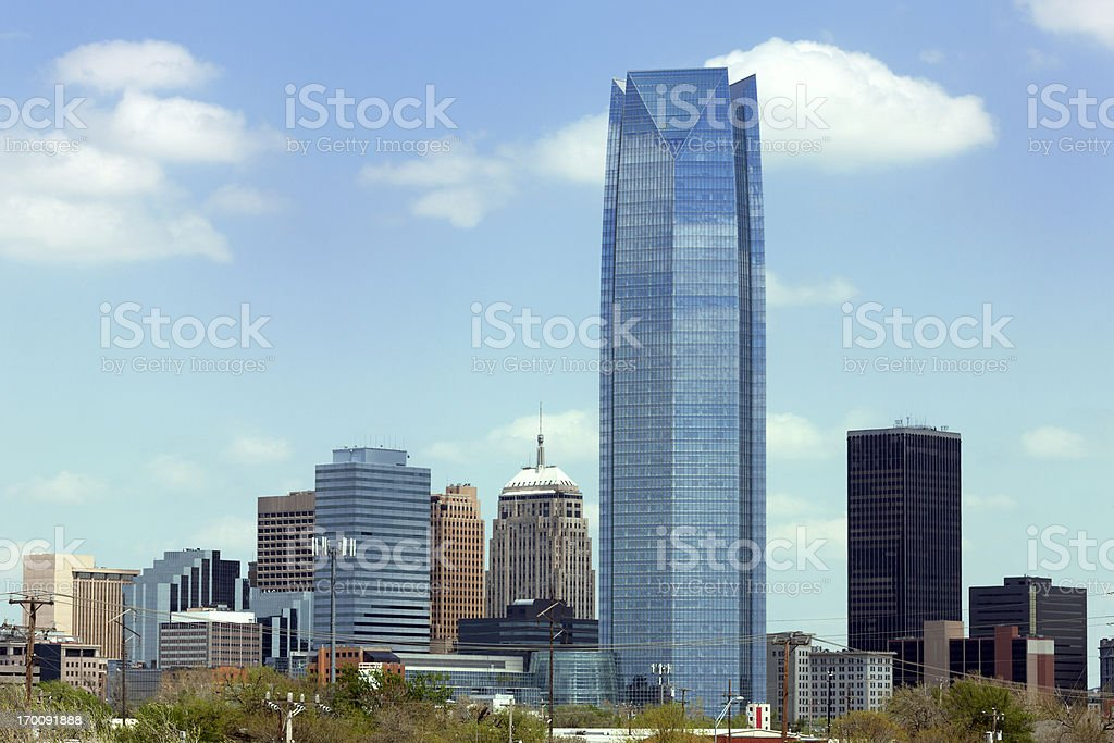 Landscape of skyscrapers in Oklahoma City during the day stock photo