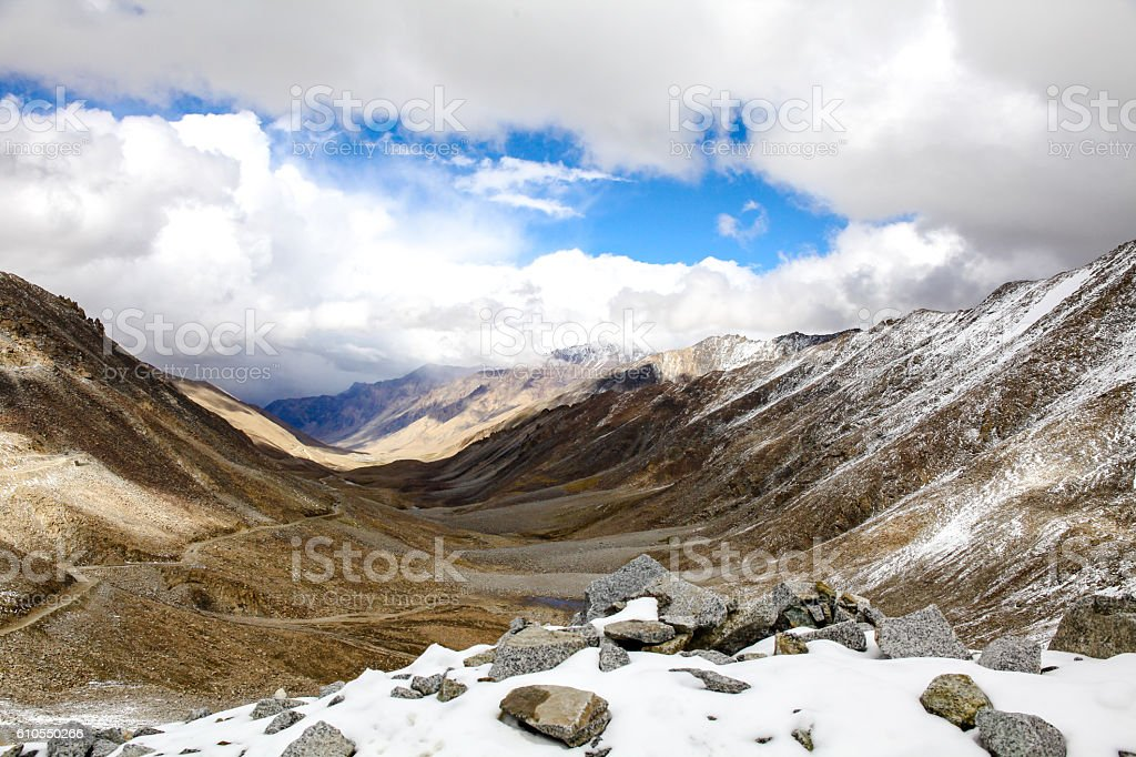 Landscape of Snow mountains in Leh, Ladakh in India stock photo