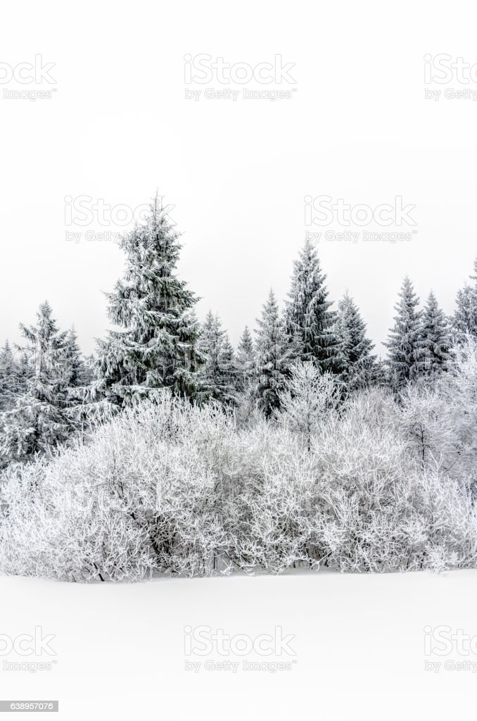 Landscape of snowy mountains in the highlands stock photo