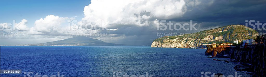 Landscape of Sorrento (Italy) with Vesuvius in the background stock photo