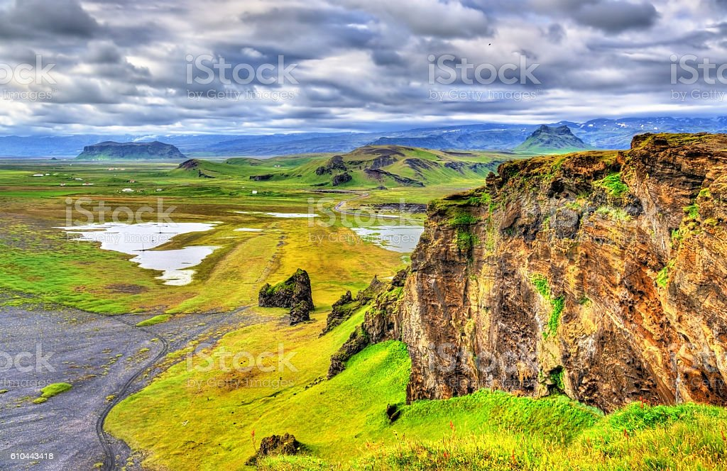 Landscape of South Iceland seen from Dyrholaey Peninsula stock photo