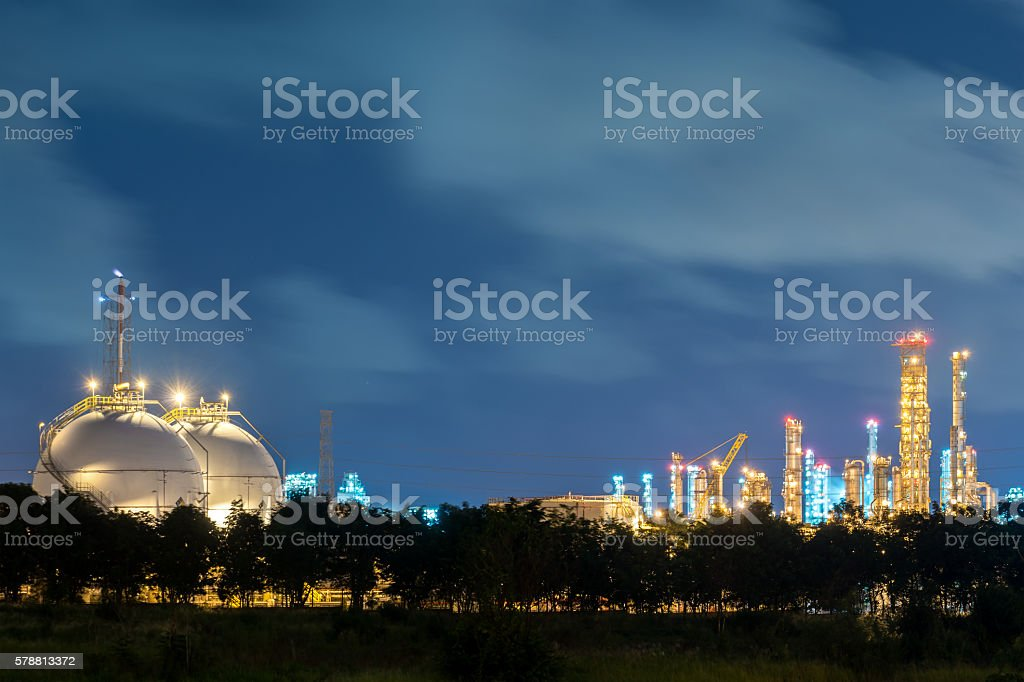 Landscape of sphere tank of storage gas and liquid chemical. stock photo