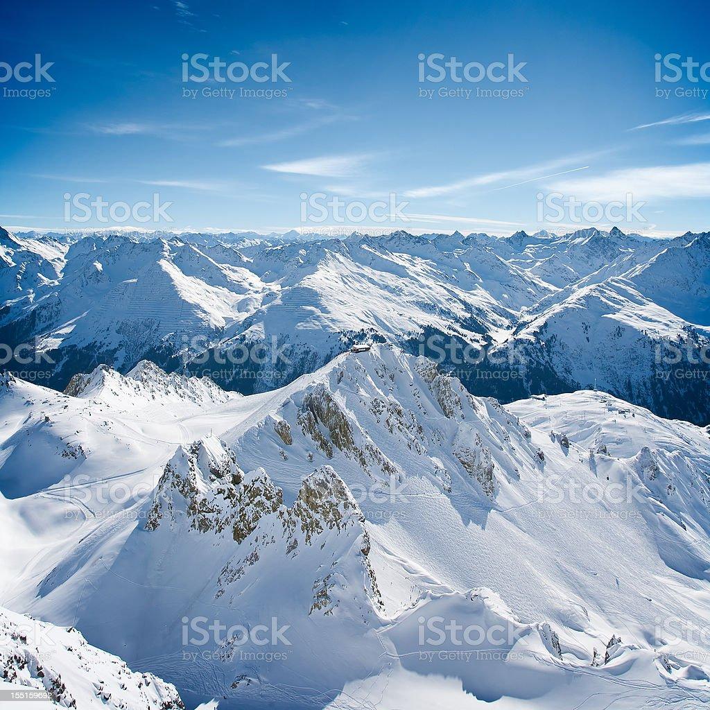 Landscape of St. Anton am Arlberg ski area peaks royalty-free stock photo