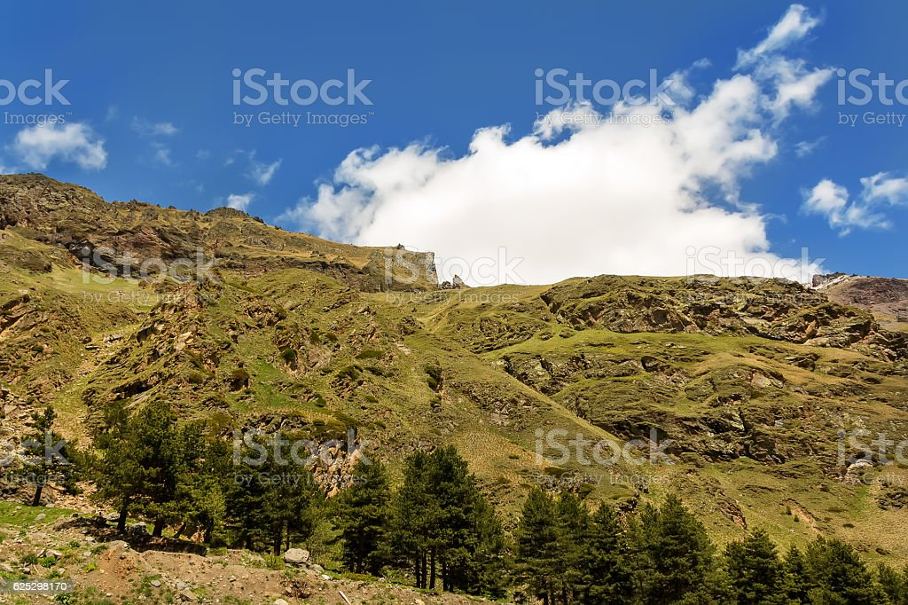 Landscape of summer mountains with blue sky stock photo