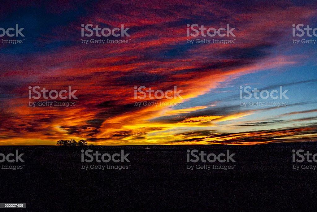 Landscape of Sunrise in New Mexico stock photo