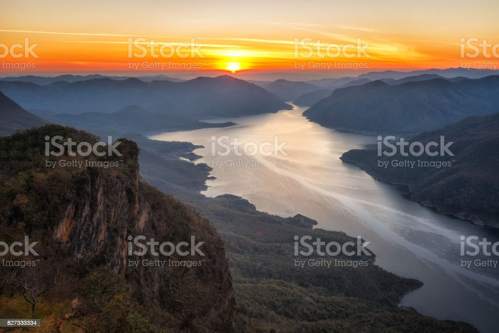 Landscape of sunrise on mountain pha daeng luang at Mae Ping National Park. stock photo