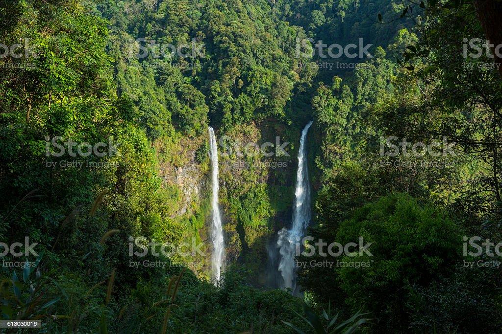 Landscape of Tad Fan waterfall in Champasak, Laos stock photo