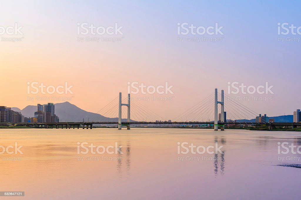 landscape of taipei by the sunset stock photo