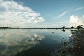 Landscape of Taungthaman lake in Amarapura, Myanmar