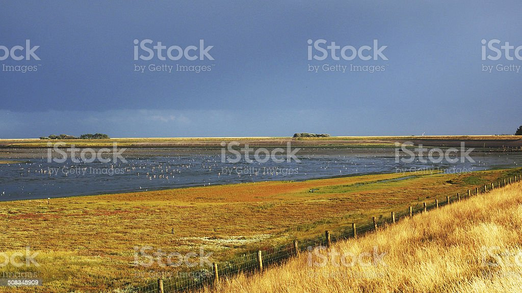 Landscape of Texel against a dark sky, stock photo