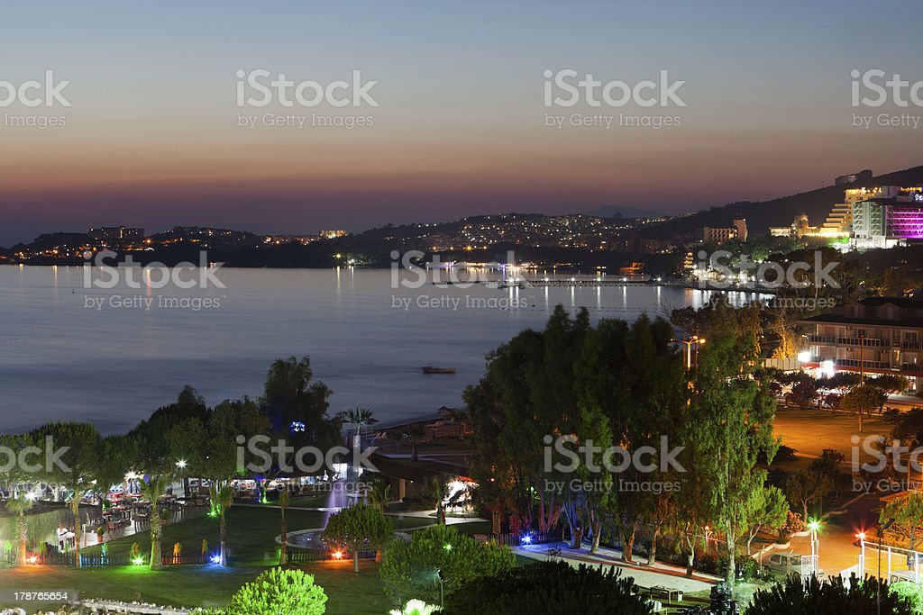 Landscape of the Aegean cost during twilight stock photo
