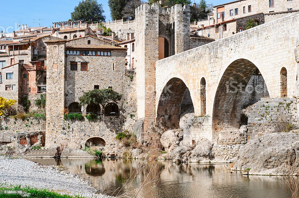 Landscape of the ancient town of Besalú in Spain, Catalonia stock photo