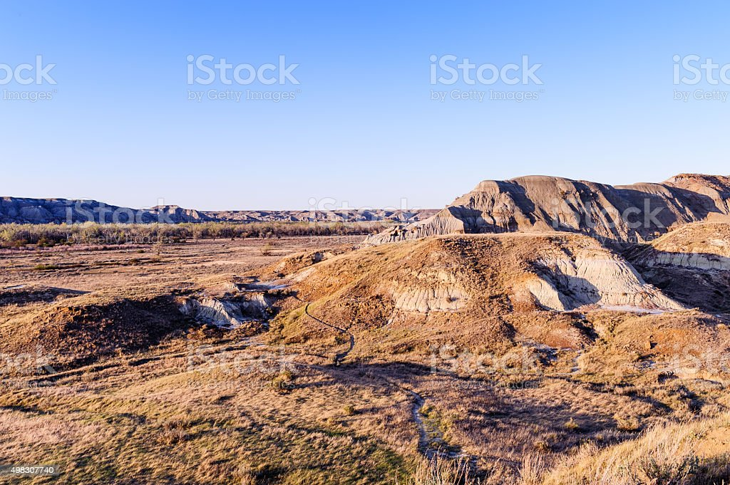 Landscape of the Badlands in Dinosaur Provincial Park stock photo