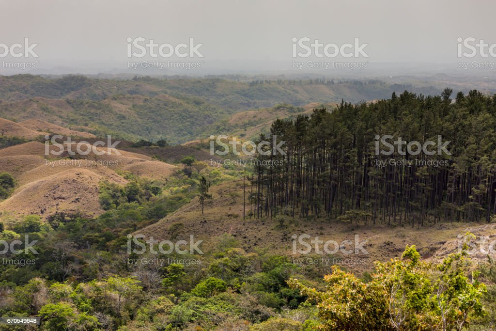 Landscape of the beautiful Anton Valley, called El Valle or El Valle de Antón in Spanish, situated in the Panamanian province of Coclé, which is a little over two hours North of Panama City. stock photo