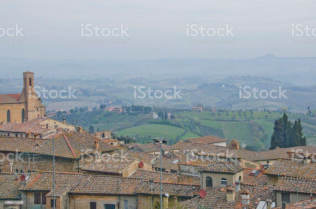 Landscape of the Countryside Around San Gimignano, Italy stock photo