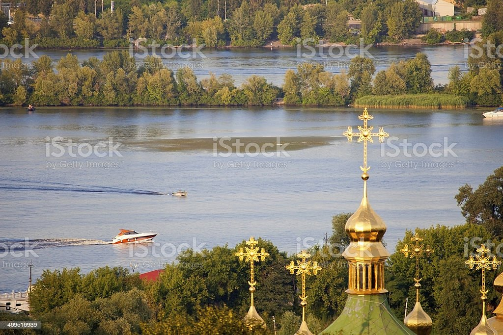 Landscape of the Dnieper River. stock photo