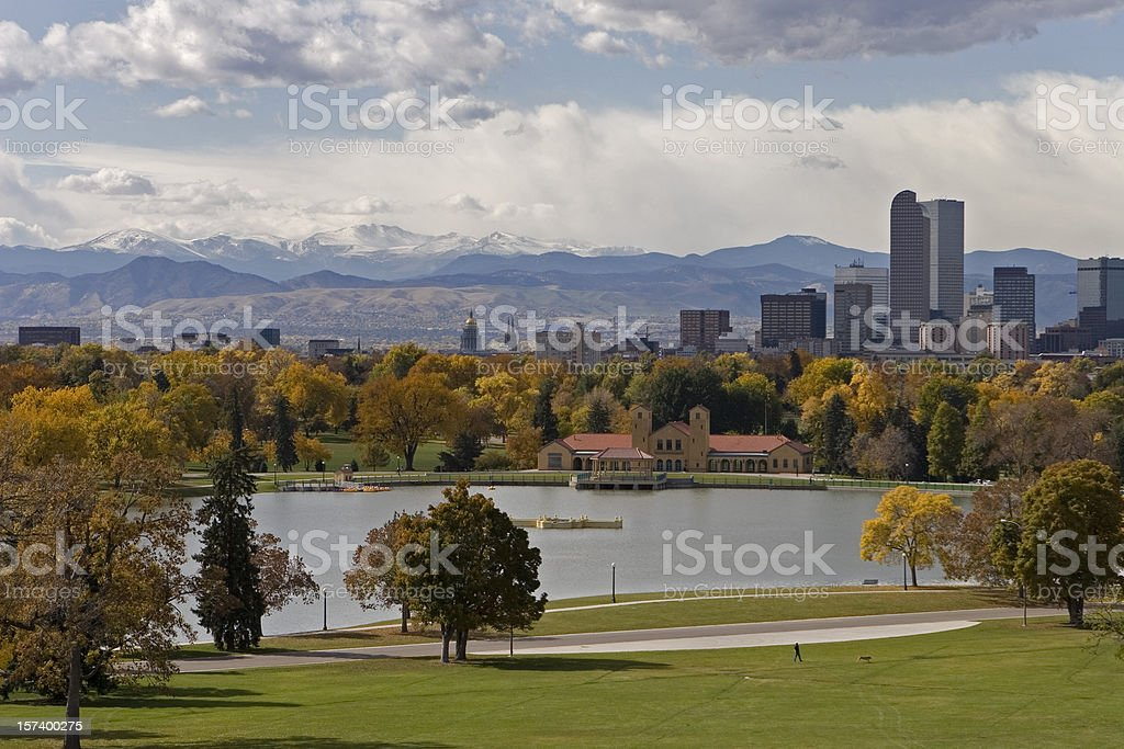 Landscape of the downtown Denver skyline in the fall stock photo