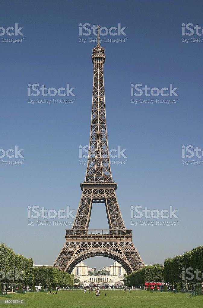 Landscape of the Eiffel Tower in Paris stock photo