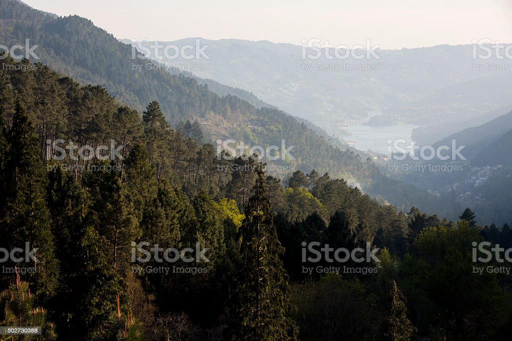 Landscape of the Geres natural park stock photo