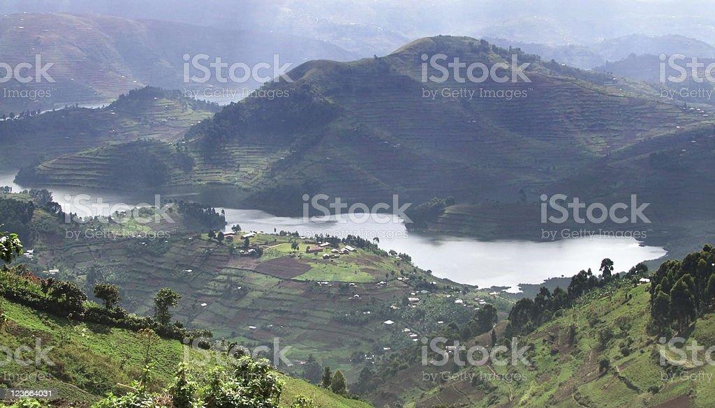 Landscape of the great Virunga Mountains in Uganda stock photo