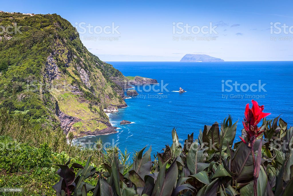 Landscape of the island of Flores. Azores, Portugal stock photo
