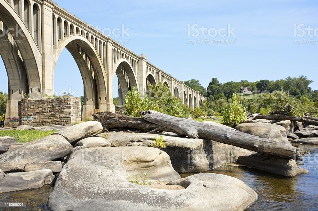 landscape of the James River stock photo